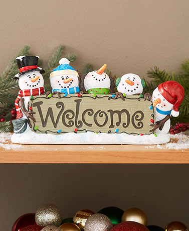 Snowman Holiday Welcome Plaque