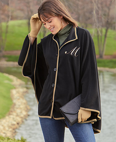 Embroidered Monogram Fleece Capes