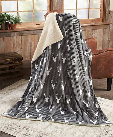 Charcoal Deer-Printed Plush Sherpa-Backed Throw