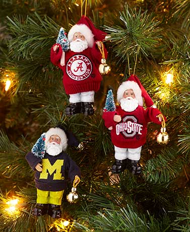 Collegiate Santa Ornaments