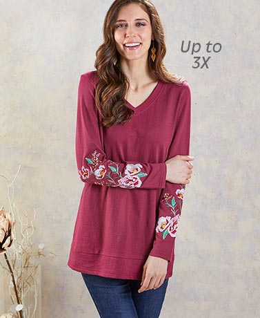 Extended Size Burgundy Embroidered Tunic