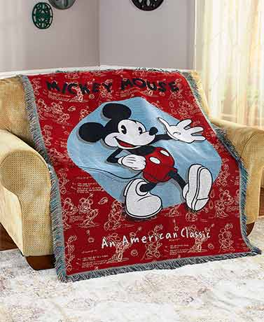 Mickey or Minnie Mouse Woven Tapestry Throws