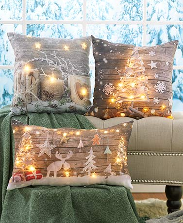 Lighted Seasonal Accent Pillows