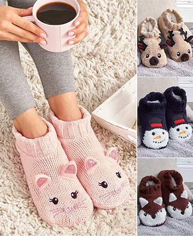 Plush-Lined Knit Critter Slippers with Grippers