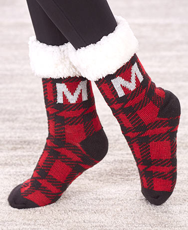 Plush-Lined Monogram Slipper Socks