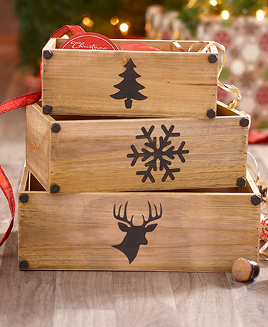 Set of 3 Country Christmas Icon Storage Bins