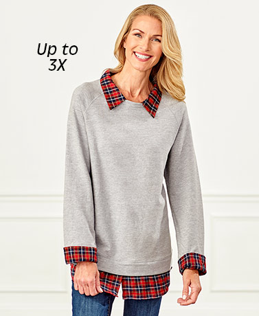 Women's Plaid-Trimmed Knit Tunics