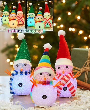 Set of 3 Color-Changing Snowmen