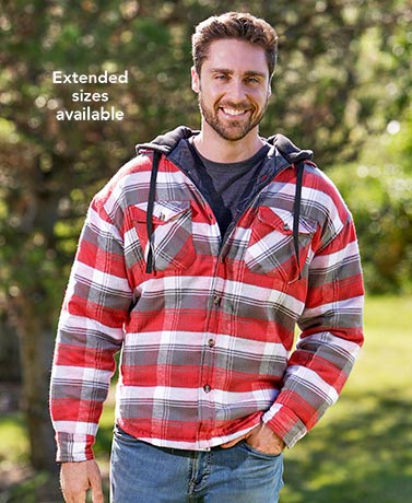 Men's Red Quilt Lined Flannel Shirt Jacket