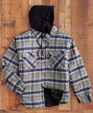 Men's Blue Quilt Lined Flannel Shirt Jacket