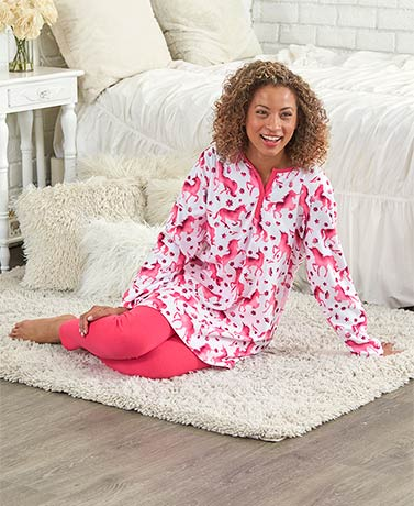 Fleece Tunic and Legging Pajama Sets
