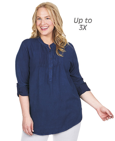 Women's Pintucked Roll Sleeve Henley Tops