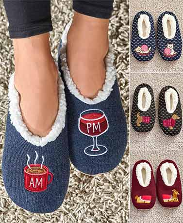 Sherpa-Lined Novelty Slippers