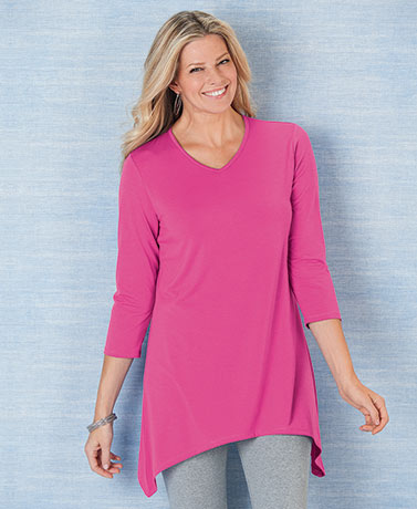 V-Neck Sharkbite Pink Peony Colored Tunic