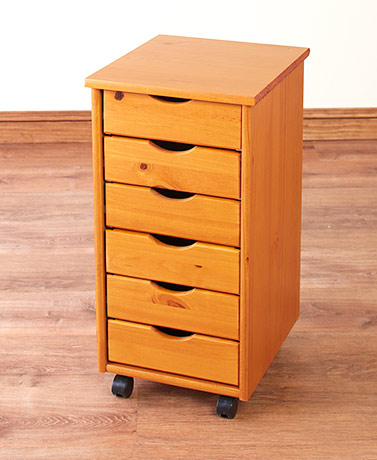 6-Drawer Wood Storage on Wheels