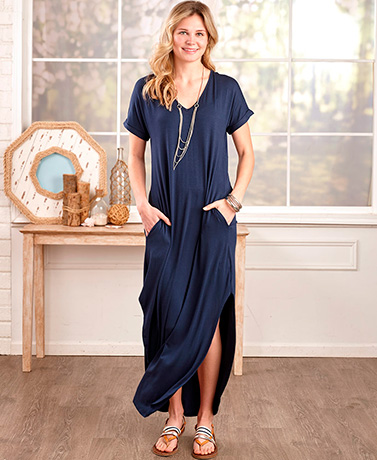 Everyday Maxi Dress with Pockets - Navy