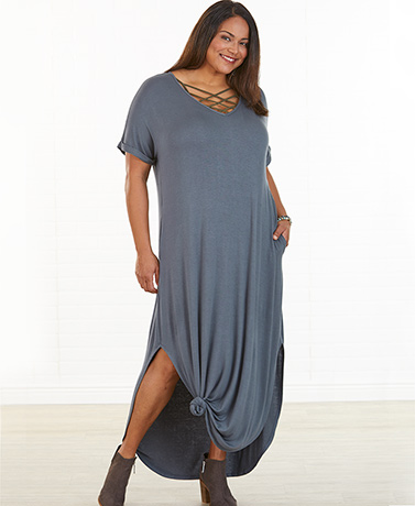 Everyday Maxi Dress with Pockets - Heather Gray