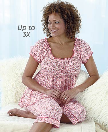 Knit Capri Pajama Sets - Pink