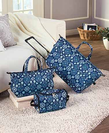 3-Pc. Trendy Luggage Sets - Blue Floral