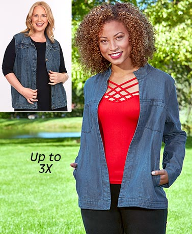 Women's Denim Vest or Cardigan