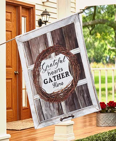 Double-Sided Sentiment House Flag - Grateful Hearts
