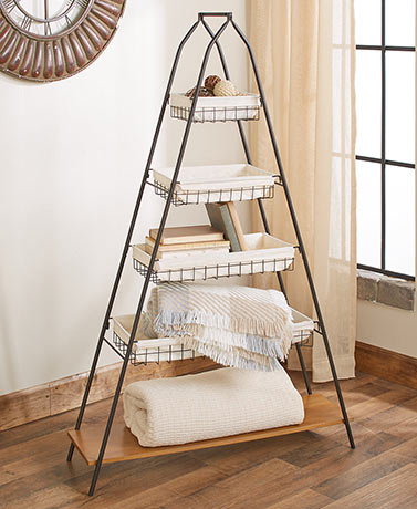 5-Tier A-Frame Basket Shelving