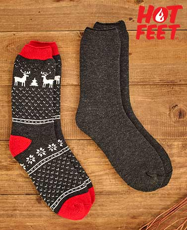 Men's 2-Pair Hot Feet™ Thermal Socks