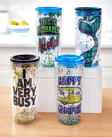 18-Oz. Insulated Glitter Tumbler with Lid