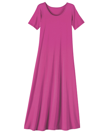 Short Sleeve Maxi Dress - Pink Peony