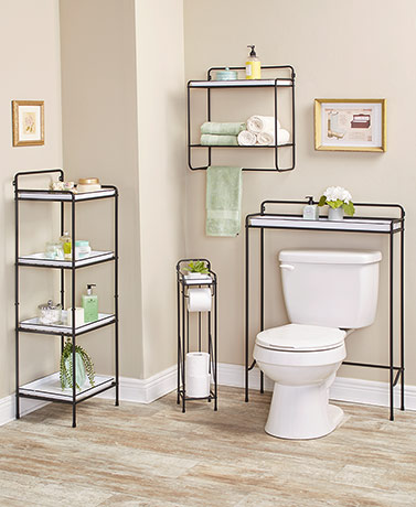 Farmhouse Enamel-Look Bathroom Storage