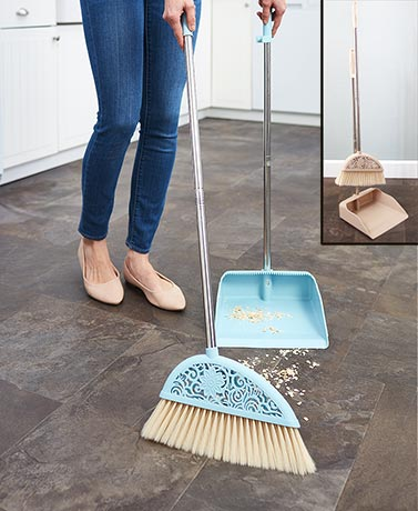 Lace Design Broom and Dustpan Sets