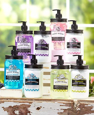 Springtime Mason Jar Soap and Lotion Sets