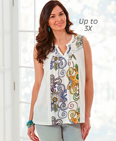 Women's Floral Print Top with Lace Trim