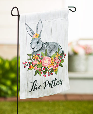 Personalized Double-Sided Spring Floral Flags - Bunny
