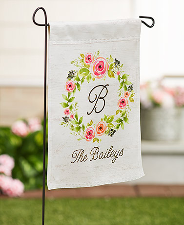 Personalized Double-Sided Spring Floral Flags - Watercolor Wreath