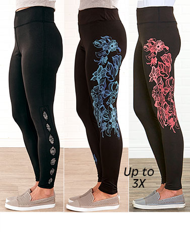 Women's Colorblock or Floral Detail Leggings