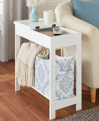 Side Table with Fashion Print Storage Bin - Blue