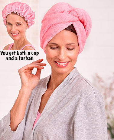 2-Pc. Shower Cap & Hair Turban Sets