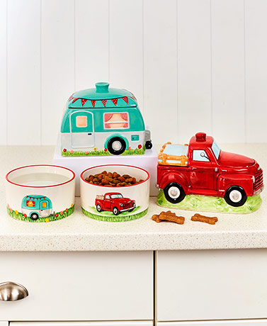 Camper or Red Truck Treat Jars or Pet Bowls