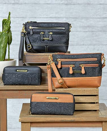 Stone Mountain Embossed Leather Crossbody Bags or Wallets