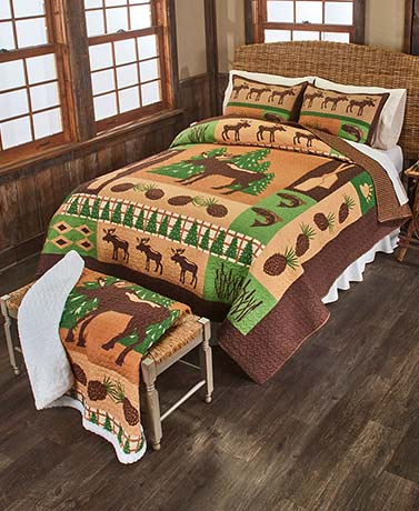 Moose Lodge Quilt Set or Throw