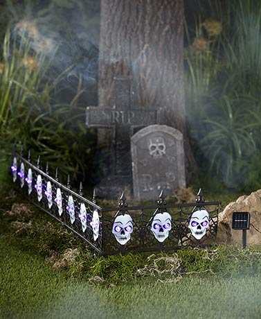 4-Pc. Solar Lighted Skull Fence