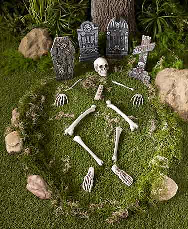 12-Pc. Skeleton Parts or 4-Pc. Tombstone Sets