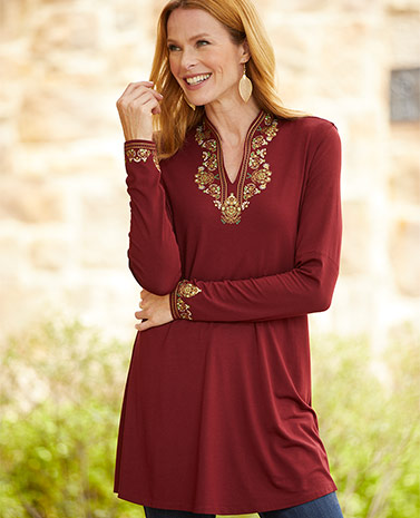 Print Embroidery Burgundy Tunic