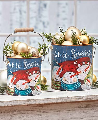 Sets of 2 Holiday Planter Pails