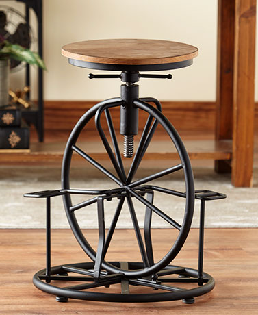 Vintage-Style Bicycle Wheel Stool
