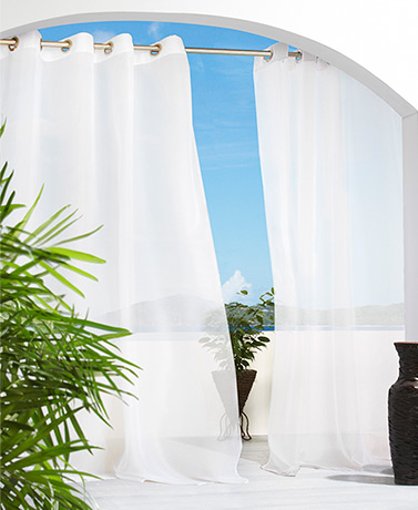 IndoorOutdoor Solid or Printed Curtains - White
