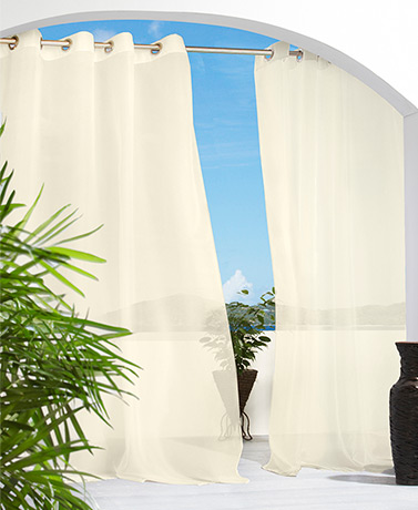 IndoorOutdoor Solid or Printed Curtains - Ivory