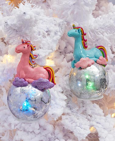 Lighted Unicorn Ornaments