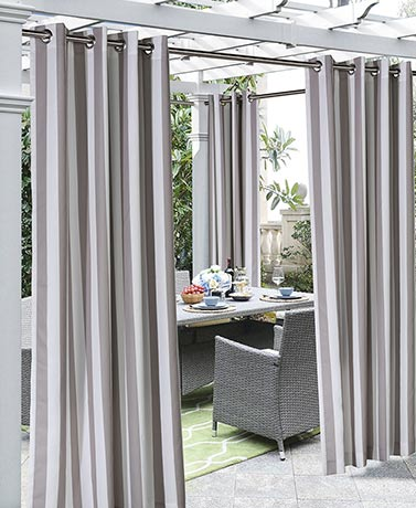 Outdoor Cabana Stripe or Solid Curtain